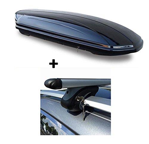 Skibox Dachbox schwarz VDP-MAA460G großer Dachkoffer für Ski 460 Liter abschließbar + Alu-Relingträger Dachgepäckträger Mazda 5 05-10