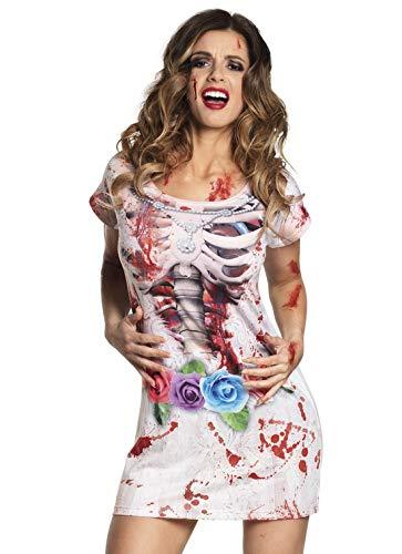 Halloweenia - Damen Frauen Kostüm blutiges Photorealistic 3D Kleid Dress im Zombie Horror Braut Look,, perfekt für Halloween Karneval und Fasching, L, ()