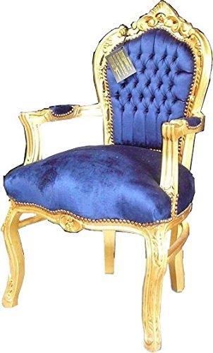 Casa-Padrino barroco Cena silla real azul/oro con reposabrazos - silla - silla Barroco - Muebles