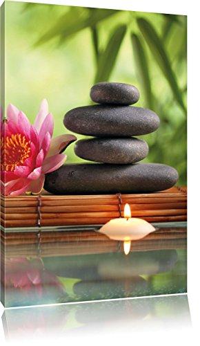 Seerose mit Zen Steinen und Kerzen, Format: 40x60 auf hochkantiges Leinwand, XXL riesige Bilder fertig gerahmt mit Keilrahmen, Kunstdruck auf Wandbild mit Rahmen, günstiger als Gemälde oder Ölbild, kein Poster oder Plakat - Buddha-statue In Japan