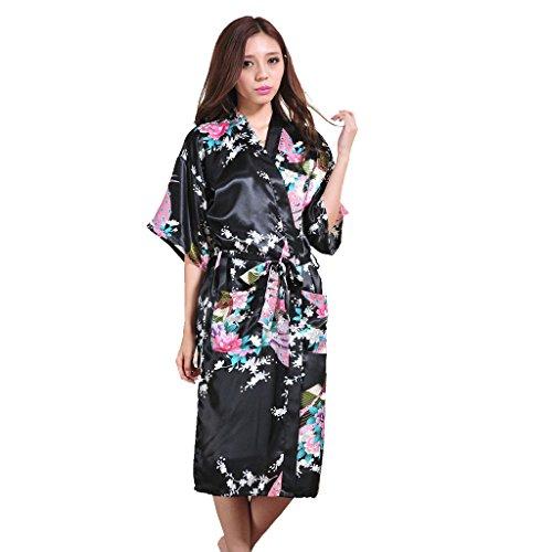 Honeystore Damen lange Kimonos für Damen Bademantel aus Satin mit Pfau und Blüten Morgenmantel Robe Schlafanzug Schwarz XL (Mit Perlen Seiden-camisole)