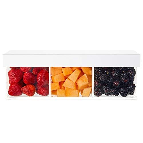 Serviertablett aus Acryl mit Deckel - Premium 3 Fächer Servierkorb mit Abdeckung/Tablett - High-End moderne Stil Caddy für Obst, Gewürze und Snacks - auch als Besteckkorb verwendbar -