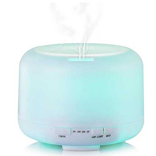Aromatherapie Aroma Diffusor LED Luftreiniger mit Tragbare tragbare ätherische Öl-Diffusoren 500ML - wasserfreies Auto weg (weiß, 500 ML)