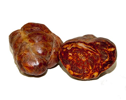 Morcón Ibérico de bellota elaborado tradicionalmente con magros del cerdo ibérico en temporada de bellota. Envasado en tripa gruesa. Curación: 12 meses mínimo en bodega. Peso Medio: entre 0,9 y 1,250 Kg