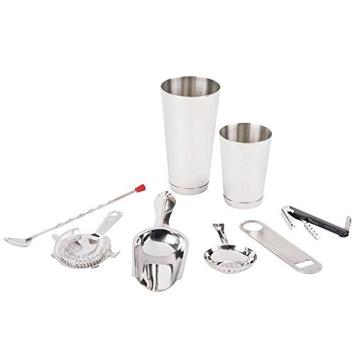 Home Professional Bartender Bar Cocktail Tool Drink MIx Kit Set by Zodiak Group 8 pcs 30 oz and 15 oz Cocktail Shakers Corkscrew and Bottle Openers Bar and Julep Strainers Red Ball Bar Spoon and Bar Scoop 4 oz Stainless Steel by Zodiak Group