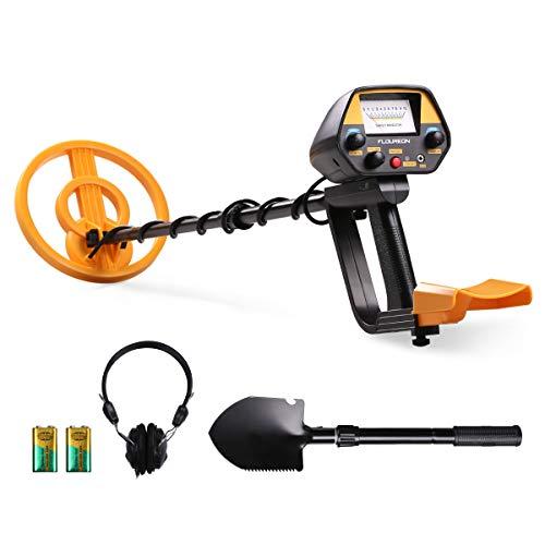 FLOUREON Detector de Metales, Alta Sensibilidad Ajustable, 3 Modos de Busca, Bobina...