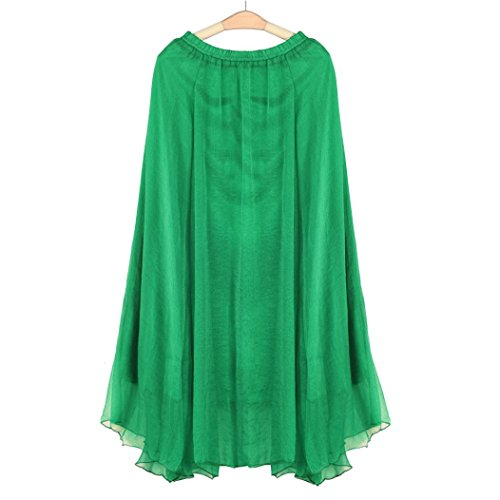 Amlaiworld Donne Chiffon Long Beach Dress con elastico Verde