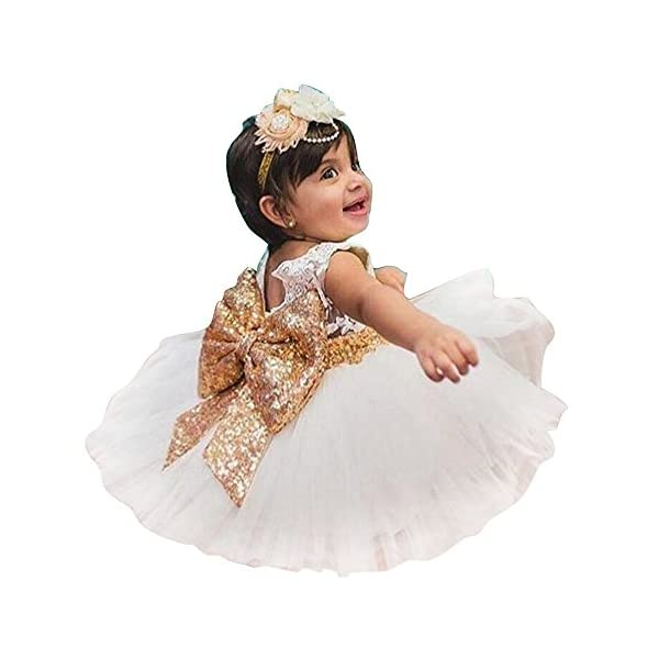KINDOYO 1-6 Years old Newborn Toddler Baby Girls Sequins Bowknot Floral Sleeveness Lace Princess Cute Dresses for Party, Wedding Dress