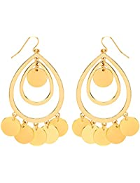 Front Row Gold Colour Polished Disc Charm Chandelier Earrings