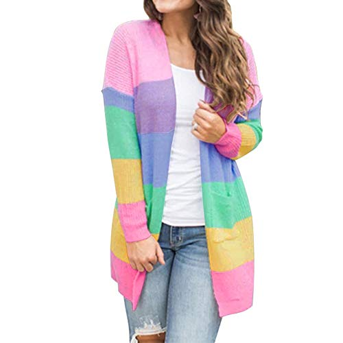 MERICAL Plus Size Damen Patchwork Langarm Rainbow Stripe Cardigan Pullover Damen Mantel(EU:48/CN:L,Mehrfarbig)