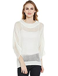 Cayman Off-white Acrylic Woollen Knitted Poncho Sweater
