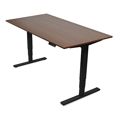 Sitz-stehtisch (Elektrisch höhenverstellbarer Schreibtisch von Ergotopia | 5 Jahre Garantie | Ergonomischer Steh-Sitz Tisch mit Memory Funktion | Beugt Rückenschmerzen vor & macht produktiver (120 x 80 cm, Nussbaum, Gestell Schwarz))