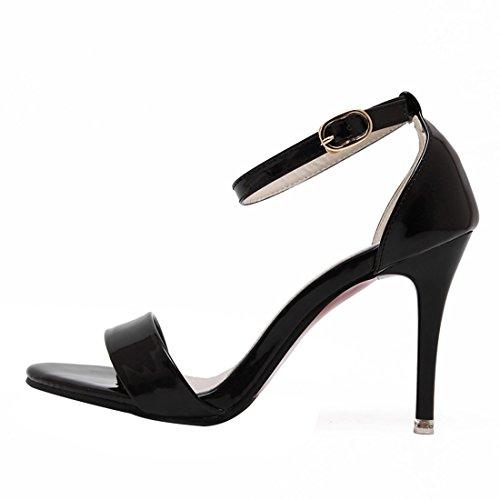 UH Femmes Sandales Bride Cheville Vernis Bout Ouvert High Heel Stiletto Confortables de Fermeture Boucle pour Travailler Noir