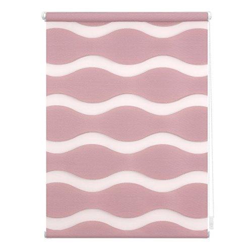 Welle Klemmfix, 110 cm x 150 cm (B x L) in Altrosa, ohne Bohren, Doppelrollo mit Jalousie-Funktion, dekorativer Sonnen- & Sichtschutz, für Fenster & Türen ()