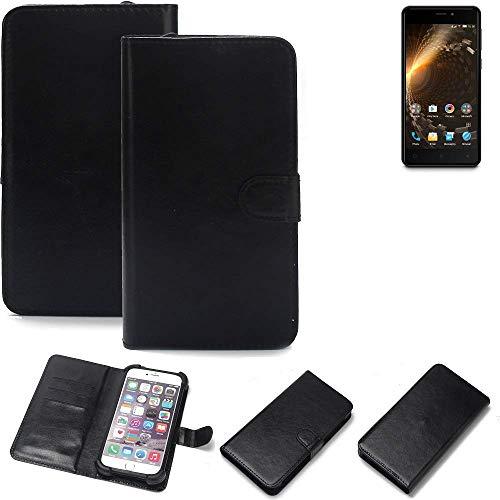 K-S-Trade 360° Wallet Case Handyhülle für Allview P9 Energy Mini Schutz Hülle Smartphone Flip Cover Flipstyle Tasche Schutzhülle Flipcover Slim Bumper schwarz, 1x
