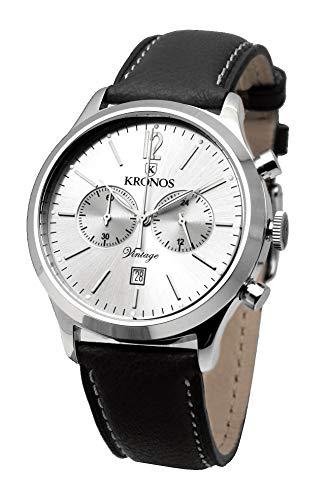 KRONOS - Vintage Chronograph Silver 938.105 - Reloj de Caballero de Cuarzo, Correa de Piel Negra, Color...