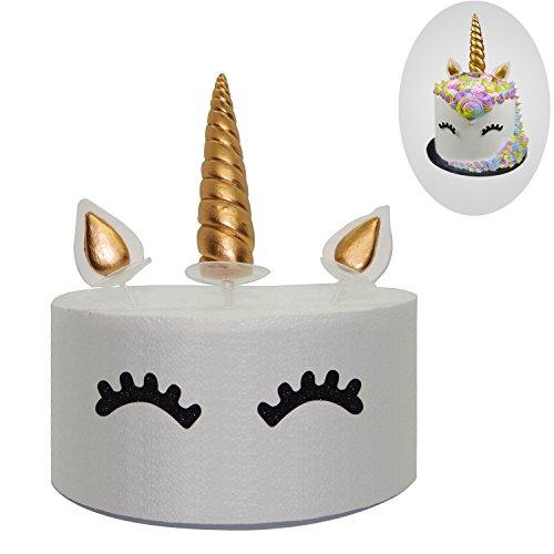 Tortenaufsatz-Set, goldenes Einhorn, inklusive Horn, Ohren und Wimpern