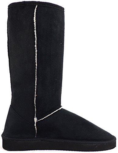 Damenschuhe/Boots aus Wildlederimitat, wärmendes Futter Schwarz
