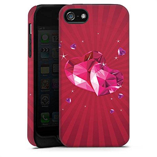 Apple iPhone X Silikon Hülle Case Schutzhülle Herz Liebe Pink Tough Case matt