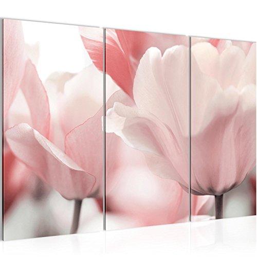 Photo Tulipes de fleurs Décoration Murale 120 x 80 cm Toison - Toile Taille XXL Salon Appartement Décoration Photos d'art Rose 3 Parties - 100% MADE IN GERMANY - prêt à accrocher 203931a