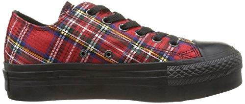 Converse, A/S Ox Platform Textile Sneaker,Donna Red Tartan/Black