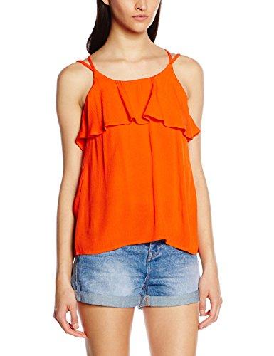 VERO MODA Damen VMCRINKLA S/L Frill A Top, Rot Mandarin Red, 38 (Herstellergröße: M) - Forever Juniors T-shirt