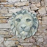 Jardín sueño cabeza de león en relieve para pared de piedra, Enzo, Antikgrau, 33cm (Durchmesser)