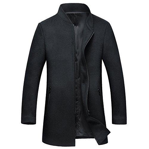 Insun Herren Mäntel Jacke Stehkragen Slim Fit Männer Winter Mantel mit Reißverschluss Schwarz EU XL Mäntel Für Männer Unten