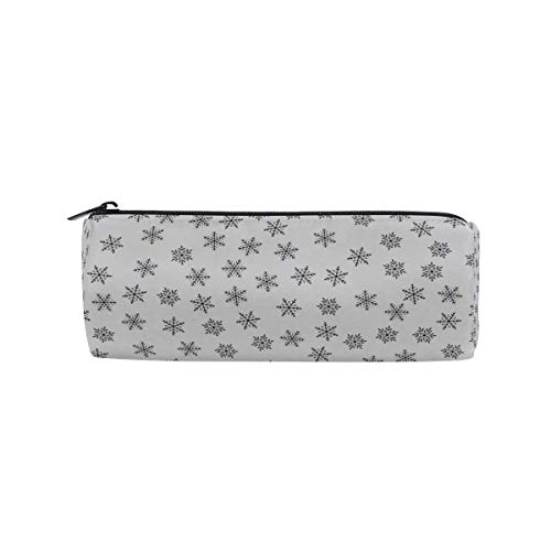 Pencil Case Snowflake Black School Pen Pouch Office Zippered Pencil Cases Holder Women Makeup Bag -