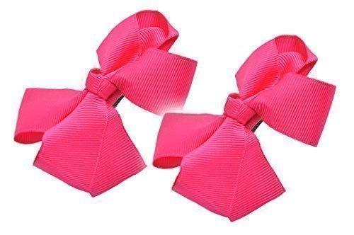 Haare Krokodilklemme Schleife Band Grosgrain Rutschen Mädchen Abiball Zubehör Geschenk - 2er Set - Hot Pink, Einheitsgröße