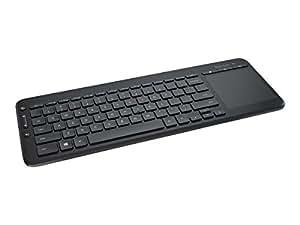 Microsoft All-in-One Media Keyboard (Tastatur mit Trackpad, deutsches QWERTZ Tastaturlayout, schwarz, kabellos)