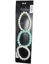 SPIRIT LINE 3Pulseras de Perlas sintéticas 2en Perlas Blancas 1en Perlas Azul Cielo 3pbb