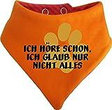 KLEINER FRATZ Gestreiftes Hunde Wende- Halstuch (Fb: Orange-Fuchsia) (Gr.2 - HU 31-35 cm) Ich höre Schon, Ich Glaub Nur Nicht Alles