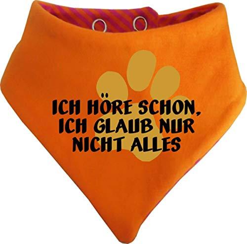 KLEINER FRATZ Gestreiftes Hunde Wende- Halstuch (Fb: orange-Fuchsia) (Gr.3 - HU 36-42 cm) Ich höre Schon, ich Glaub nur Nicht Alles