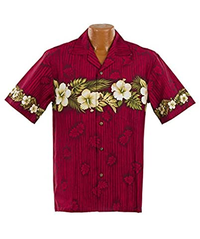 Authentic Made in Hawaii; New Hibiscus Aloha Shirt in Red, 2XL; Ships Free (New Xxl Aloha Hawaii Hemd)