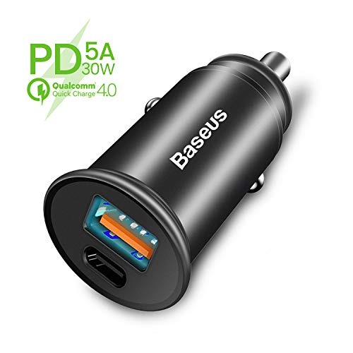 Auto Ladegerät, Baseus USB C Kfz Ladekabel PD3.0 5A 30W Schnellladung für iPhone X/XS/XR/XS Max, iPad Pro 2018, QC4.0 QC3.0 Fast Charge für Galaxy S9/Note9, Huawei Mate20 Pro SCP FCP – Schwarz
