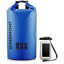 Overmont 30L Bolsa mochila impermeable 500D PVC para gimnasio playa natación camping senderismo surf piscina esquí deporte al aire libre color negro/azul/naranja/verde+ bolsa impermeable para movil de 5.5 pulgadas como regalo