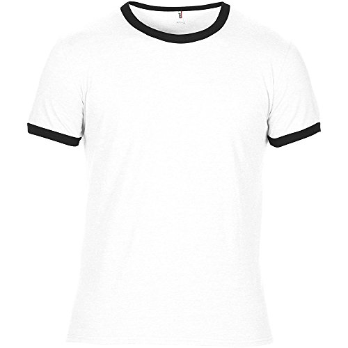 Mens Heather Ringer T-shirt (Anvil Mens Adult Lightweight Ringer T Shirt White)