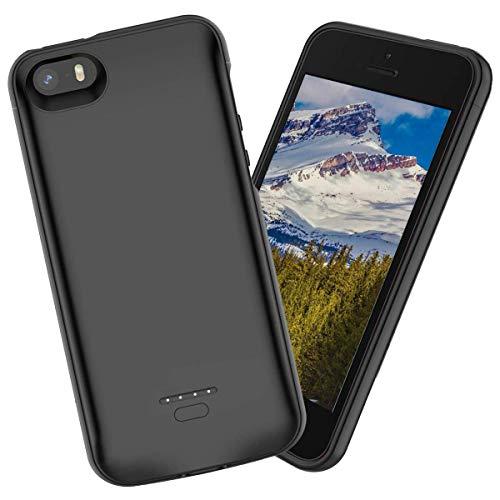 iPhone SE 5SE 5 5S Akku Hülle Batterie,4000mAh hohe Kapazität Lithium-Polymer Externer wiederaufladbar mit ständer halter LED-Leuchten Akku Ultradünnes Stoßfest Schutzkoffer für iPhone SE 5SE 5 5S (Akku Iphone 5s Case)