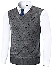 170a6f3a7f52e Yingqible Classic Mens V-Neck Sleeveless Jumper Vest Knitted Gilet Slipover  Waistcoat Sweater Tank Tops