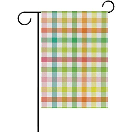 hdgfjhdfjdf Vintage Checkered Plaid Tartan Striped Garden Yard Flag Banner for Outside House Flower Pot Double Side Print 12