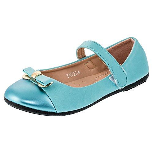 Festliche Mädchen Ballerinas Schuhe mit Zierschleife in Vielen Farben M159bl Blau 35