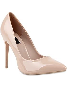 Stiefelparadies Spitze Damen Pumps Lack Stiletto High Heels Metallic Party Schuhe Glitzer Abendschuhe Hochzeit...
