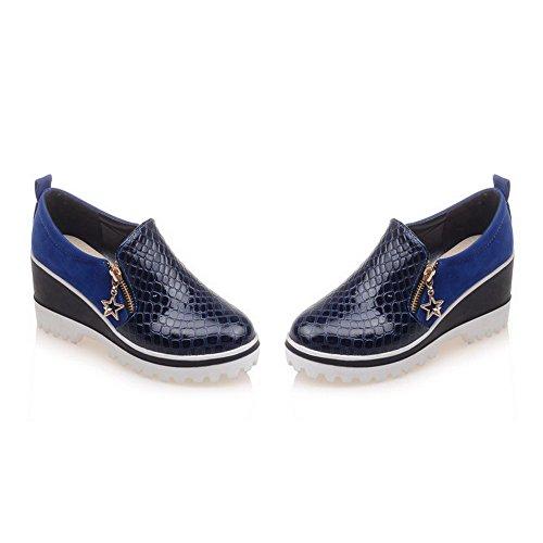 AgooLar Femme à Talon Haut Matière Souple Couleur Unie Zip Rond Chaussures Légeres Bleu