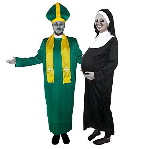 Exorzist Kostüme Halloween (ZOMBIE PAAR = IRISCHER PRIESTER + SCHWANGERE NONNE = VON ILOVEFANCYDRESS®= DAS PERFEKTE PAARE KOSTÜM FÜR FASCHING HALLOWEEN UND KARNEVAL = GRÜNES ZOMBIE-PRIESTER & SCHWARZES ZOMBIE-NONNEN VERKLEIDUNG = BEIDE KOSTÜME)