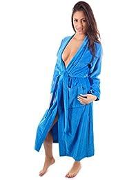 WeWo Damen Kimono Velours Bademantel Morgenmantel Saunamantel, 3539
