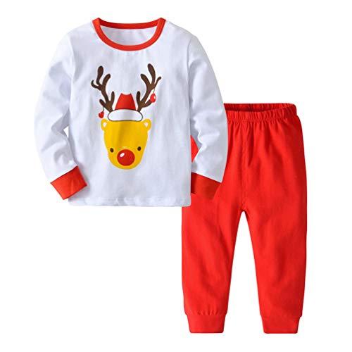 Dooxii bambini ragazzi ragazze pigiami di natale set moda santa renna stampato magliette + pantaloni tuta di pigiama