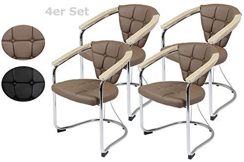 4er Set Armlehnenstuhl Maren, Kunstleder Latte, Metallgestell Chrom, Armlehne Sonoma 58 x 60 x 81cm