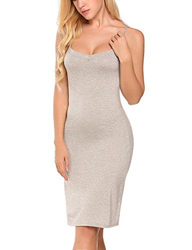 c157bb094 Goodfans Women Cotton Blend Spaghetti Strap Full Slip Under Dress Liner -  Grey -