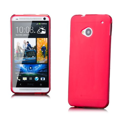 iCues HTC One M7 |  TPU Matt Case Rot | [Display Schutzfolie Inklusive] Transparent Klarsichthülle Durchsichtig Klare Klarsicht Silikon Gel Schutzhülle Hülle Cover Schutz